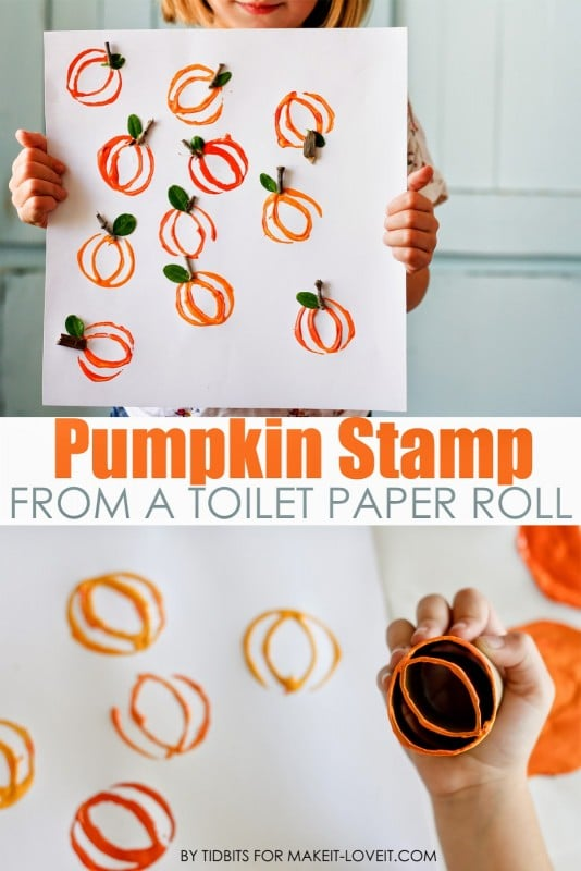 Pumpkin-Stamp-Art-from-a-toillet-paper-roll-1