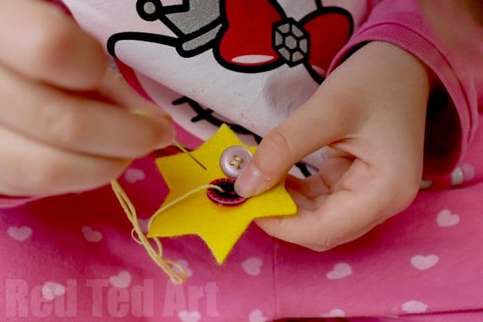 Sewing for Kids - making cute button star ornaments - buttons first