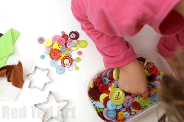 Sewing for Kids - making cute button star ornaments - first we select the some buttons