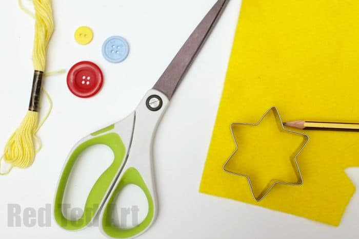 Sewing for Kids - making cute button star ornaments - trace the cookie cutter