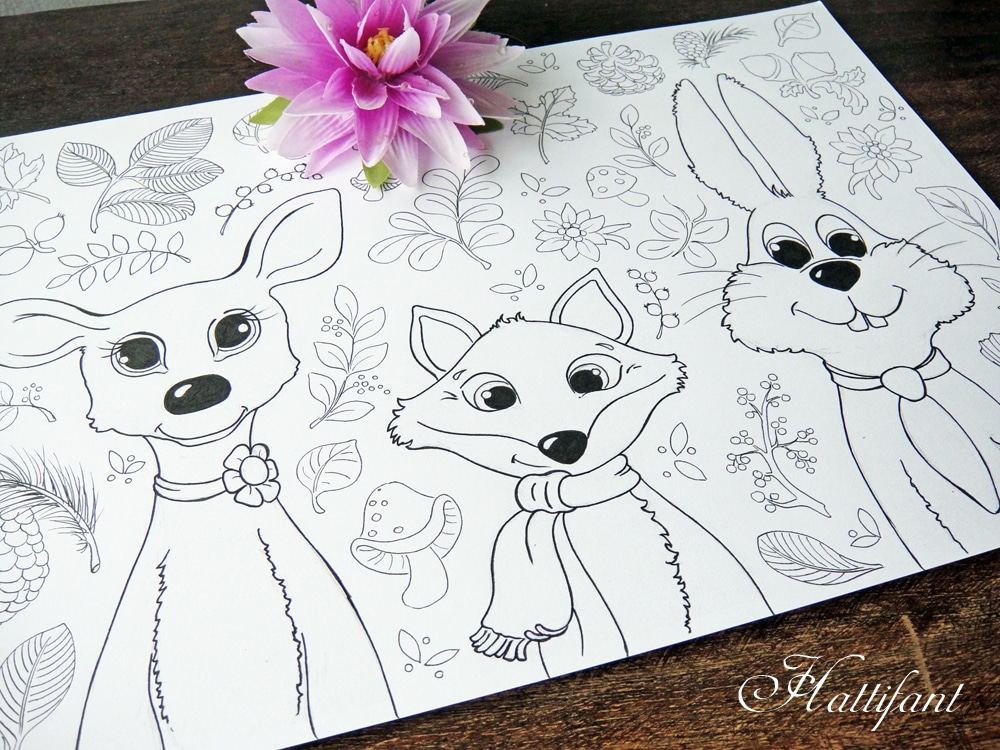 Woodland Animals Coloring Pages for Grown Ups & Kids