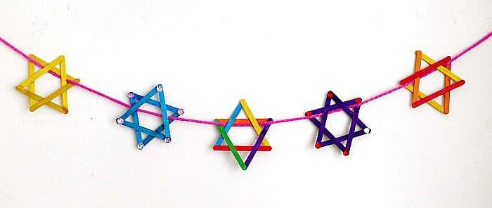 craft stick star of david garland an easy hanukkah craft project for kids