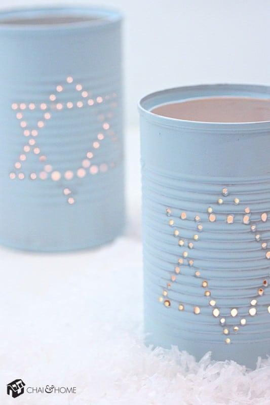 hanukkah decorations - tin can lanterns