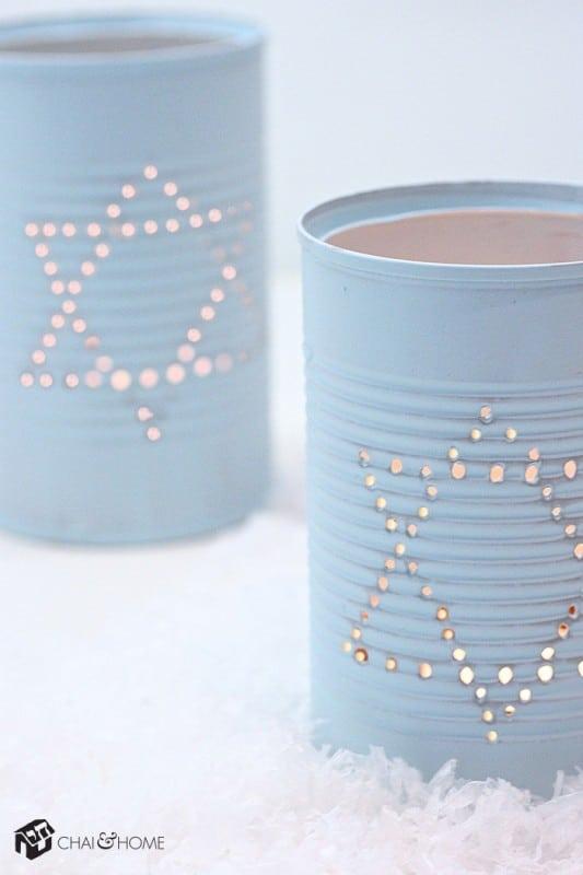 hanukkah decorations - tin can lanterns