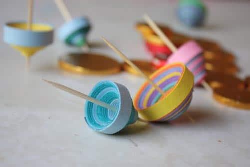 paper strip dreidels for hanukkah crafts for kids