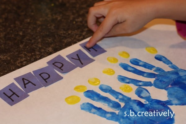 sweet handprint menorah activity