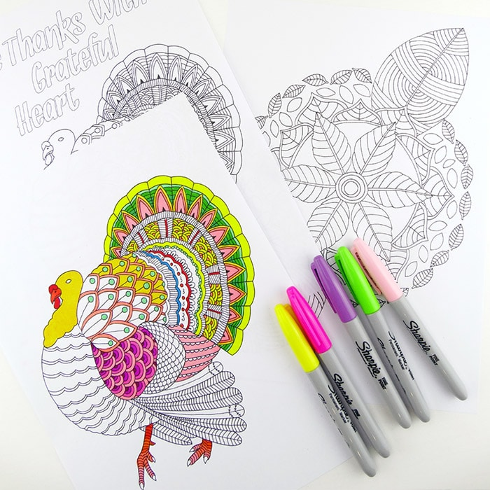 Leaf Mandala & Thanks Giving Turkey Colouring Pages (for Grown Ups)