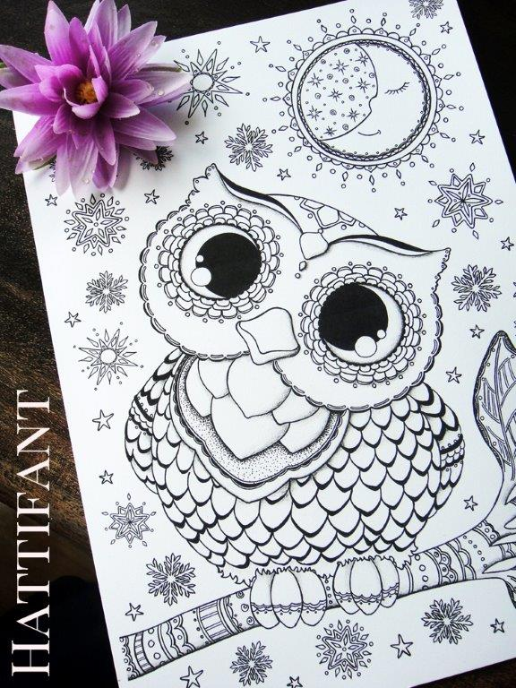 Baby Owl Coloring Page for Grown Ups Red Ted Arts Blog