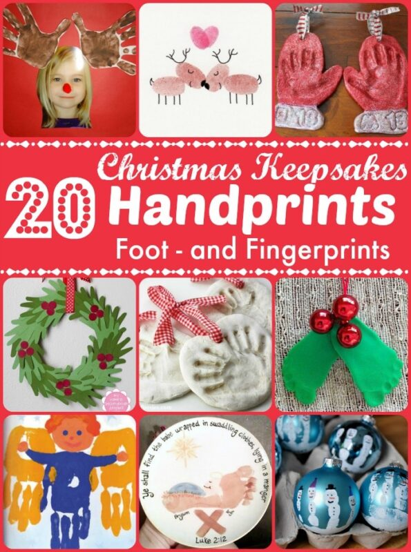 Christmas Keepsakes - wonderful Handprint Crafts for Kids to make. Over 20 ideas using handprints, footprints and fingerprints to make gorgeous keepsakes #handprints #christmas #christmascard #christmaspreschool #preschool #footprints