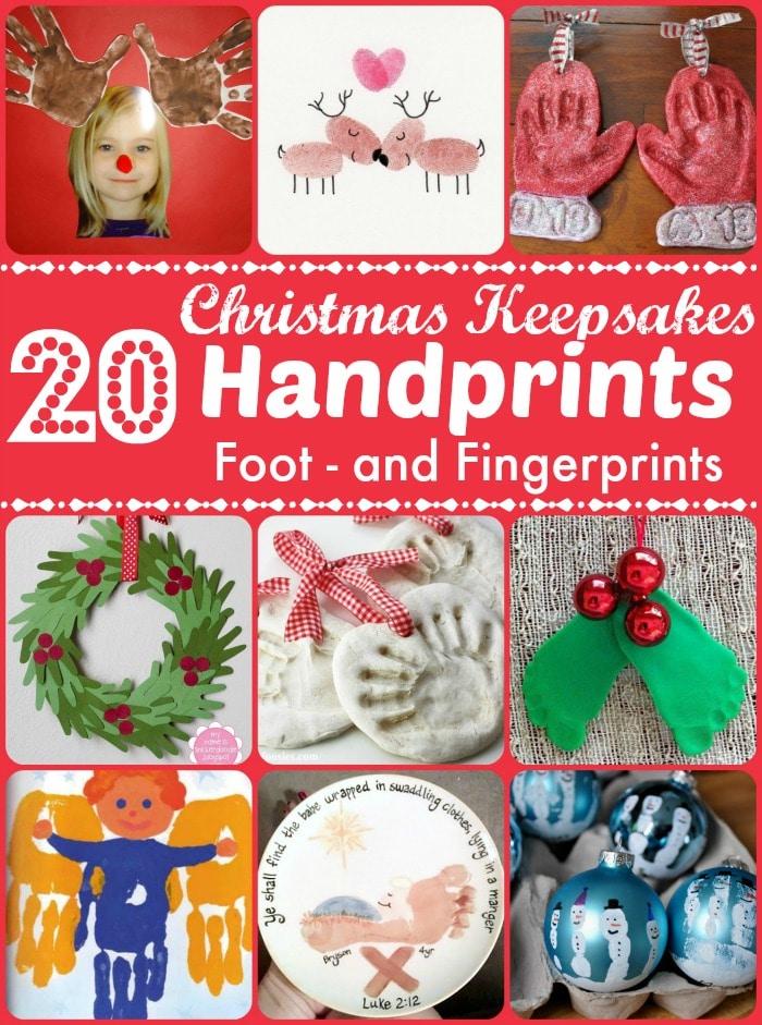 Christmas Handprint Footprint Crafts Keepsakes Red Ted Art