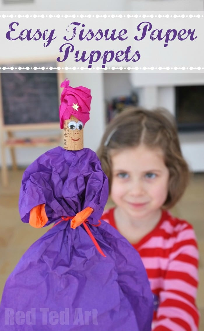 Easy Tissue Paper Puppets - perfect for 3 Kings Day at Christmas - or for Princesses and Knights