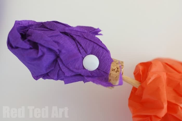 Easy Tissue Paper and Cork Puppets - how to add the turban