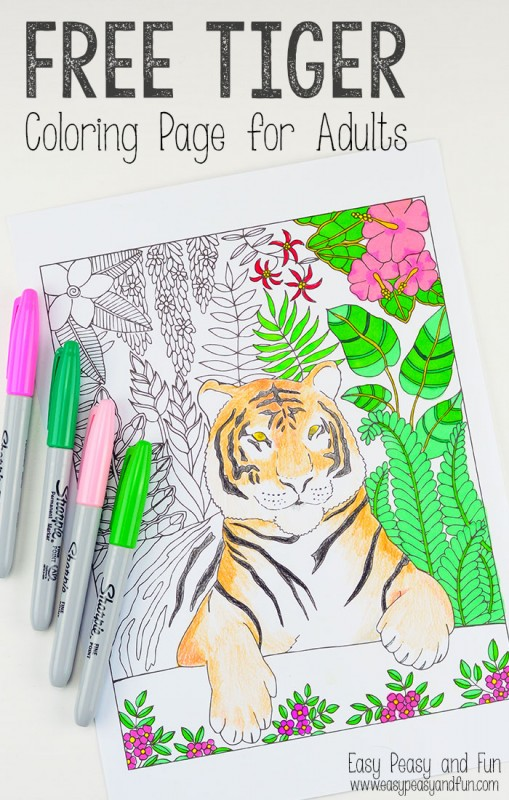 Free Printable - beautiful Tiger Coloring Page for Adults!