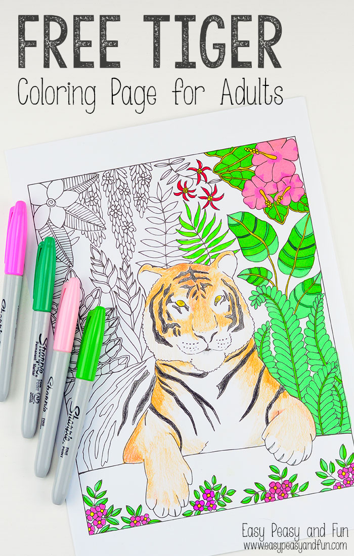 Free Printable Tiger Coloring Page For Adults Red Ted
