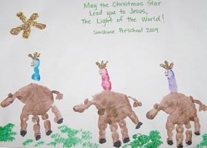 Handprint art for Christmas - 3 kings