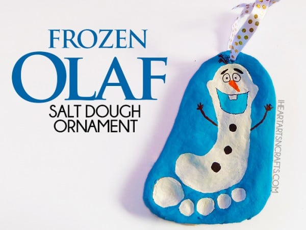 Olaf Snowman Footprint Ornament made from Saltdough for Christmas