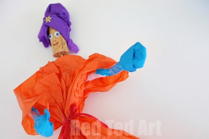 Tissue Paper Puppets - use pipecleaners for the arms
