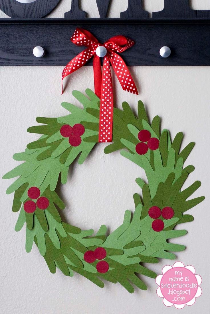 Superior Christmas Wreath Craft Ideas Part - 9: Handprint Christmas Wreath Idea