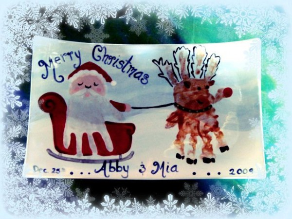 handprint rudolph and santa art activity - lovely keepsake