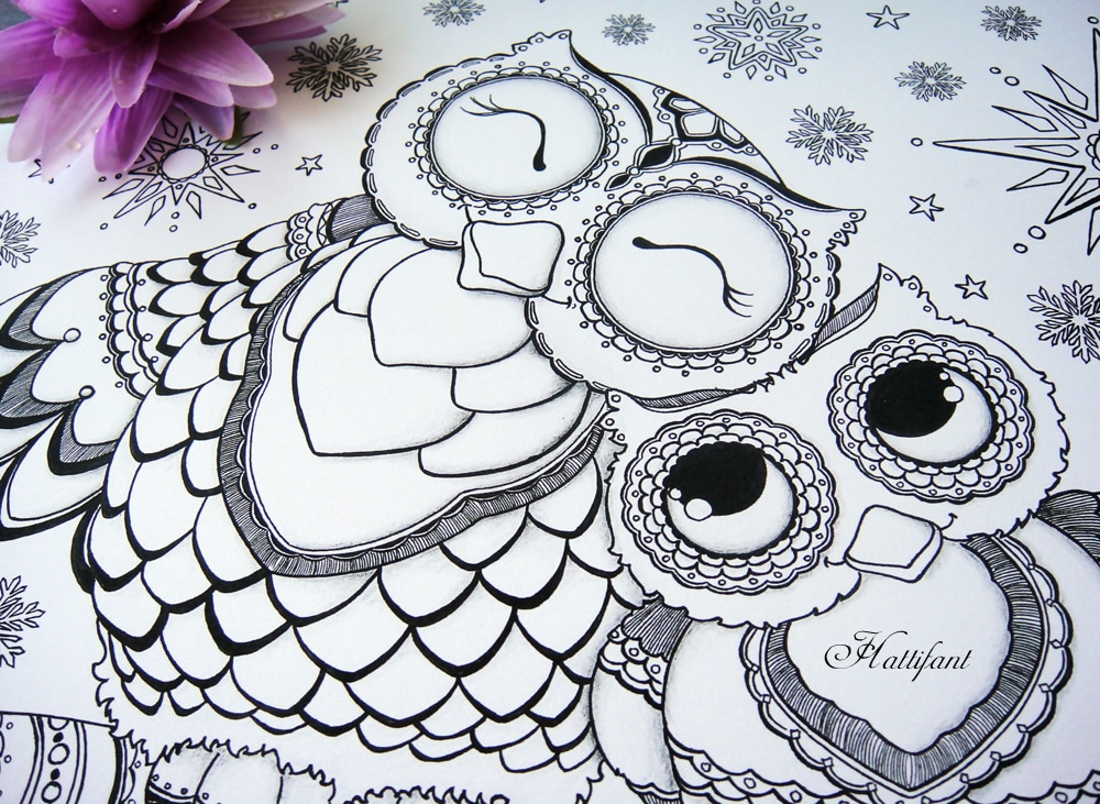 owl colouring pages and printable card 1 - Printable Owl Coloring Pages For Adults