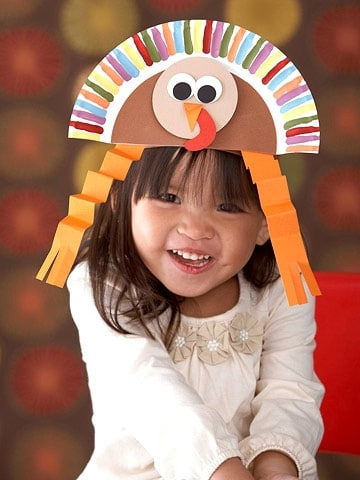 paper plate turkey hat craft for kids