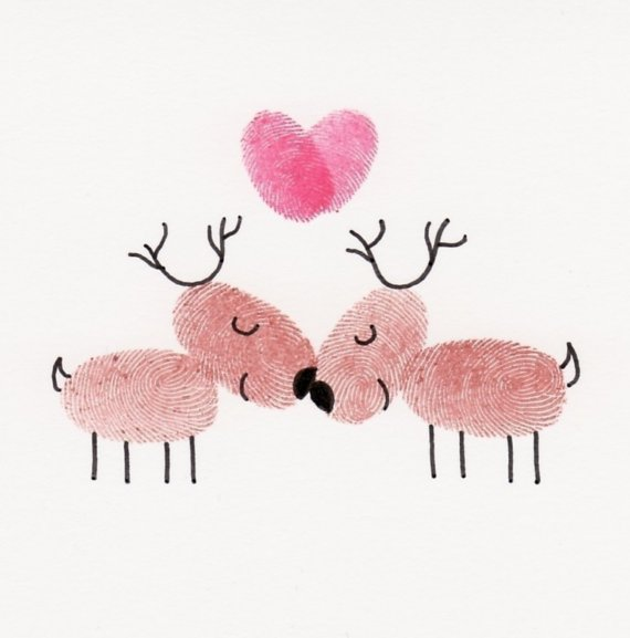 thumbprint rudolph art cards - make these for christmas cards