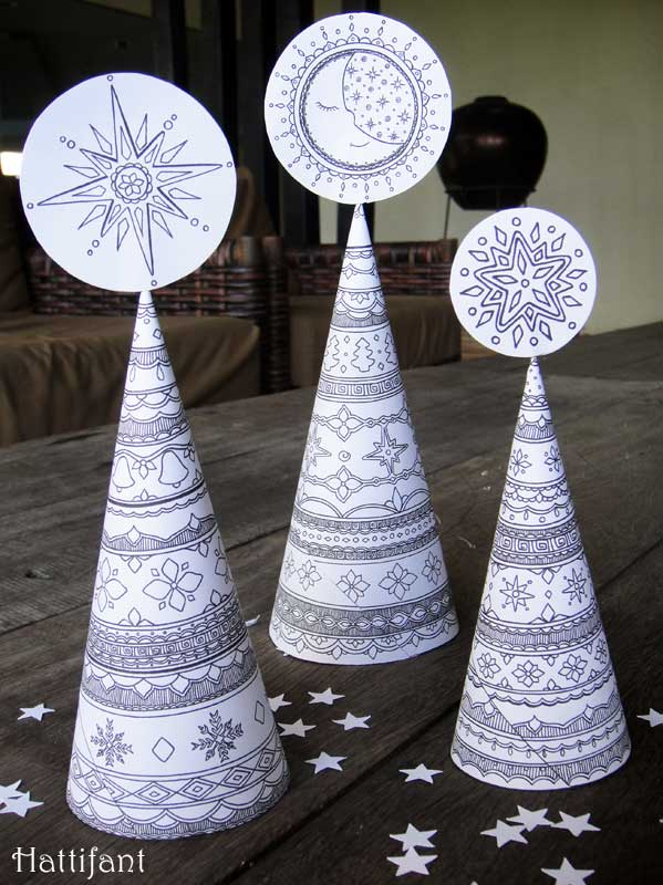 3D Christmas Tree Colouring pages for grown ups