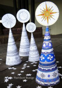3D Coloring Pages for Grown ups - christmas trees