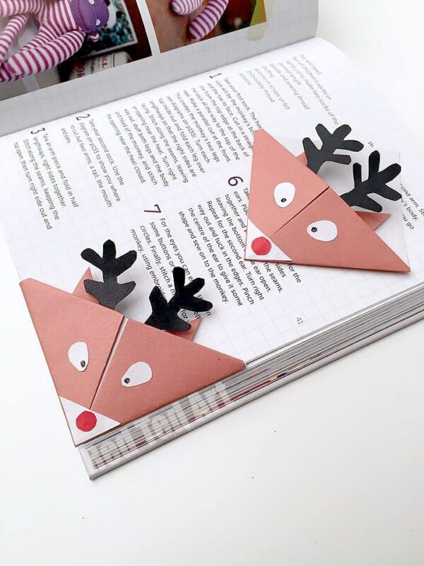Reindeer bookmarks cute easy origami for kids red How to make a simple bookmark