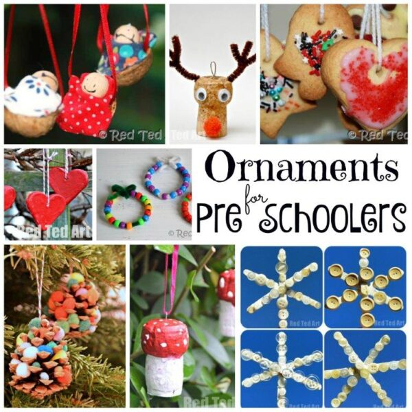 Christmas Ornaments for Preschoolers and Young Kids. Over 50 Christmas Crafts for Preschoolers! We love these great crafts and activities for tots and preschoolers, keeping them busy and making things festive these holidays! Merry Christmas! #Christmas #ChristmasCrafts #ChristmasCraftsPreschool #Preschool #Preschoolers #CraftsforPreschoolers