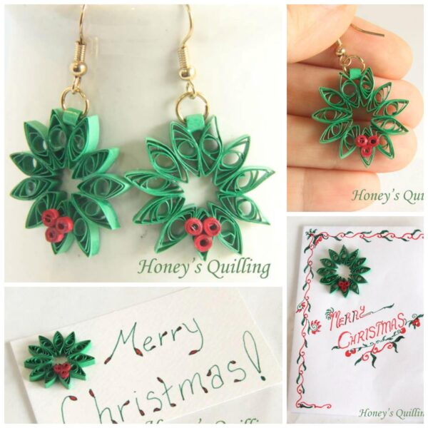 Easy Paper Quilling for Beginners - Christmas Wreath. Turn them into earings, ornaments, greeting cards or gift tags. Beautifl!