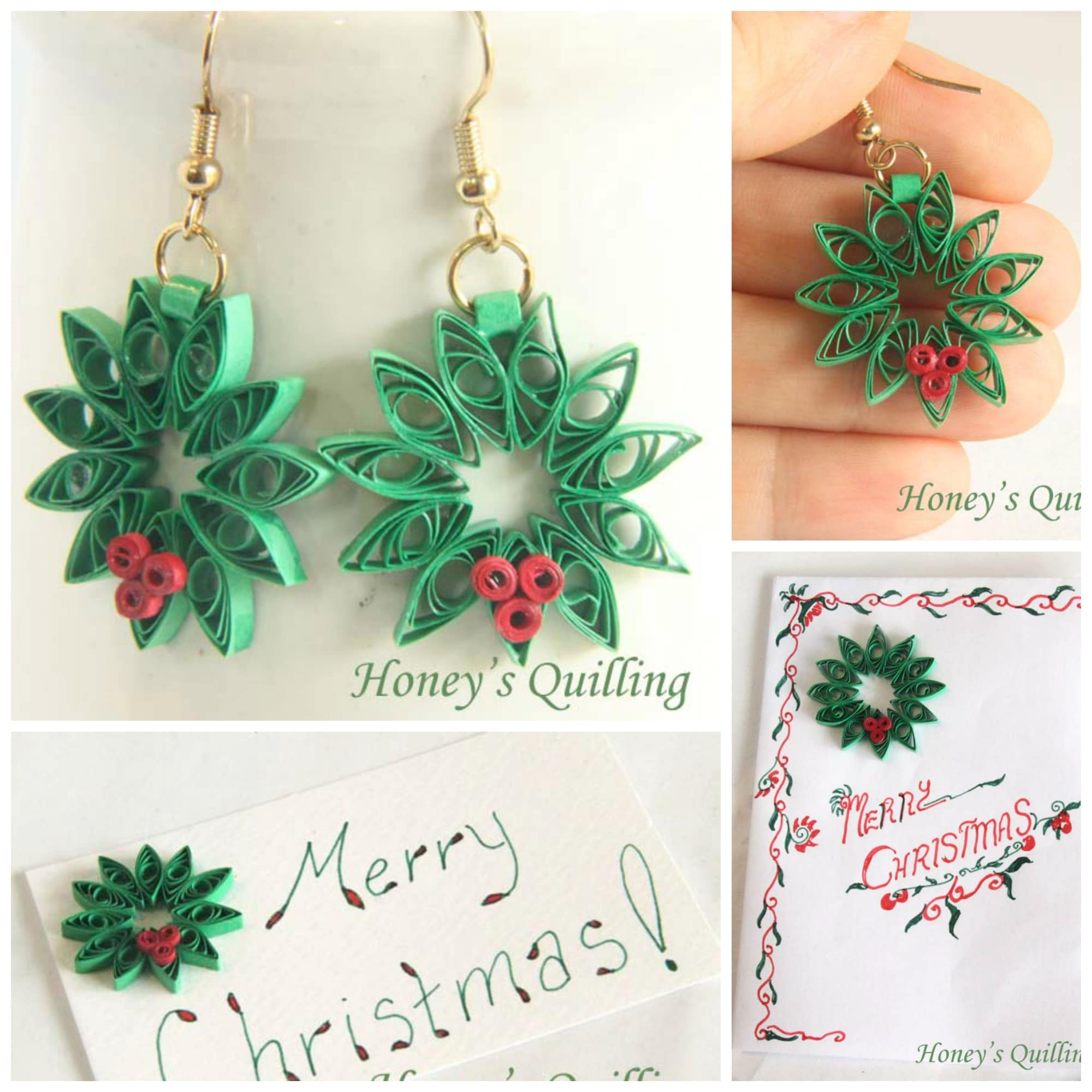 Introduction to paper quilling christmas wreath red ted arts blog easy paper quilling for beginners christmas wreath turn them into earings ornaments m4hsunfo