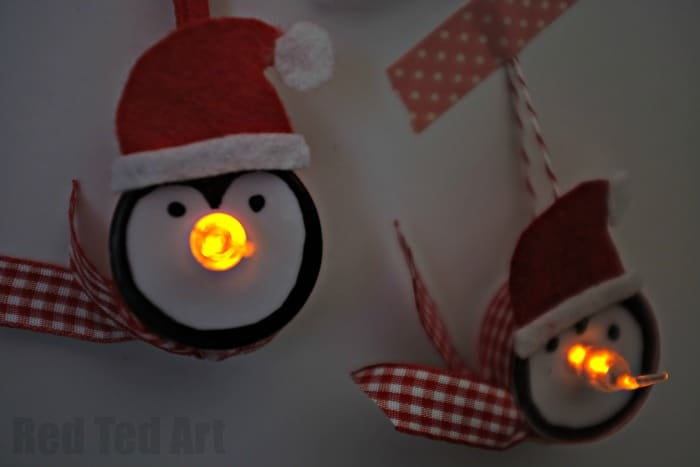 Light Up Penguin Tea Light Ornaments