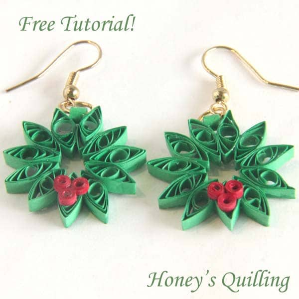 Paper Quilling for Beginners make an Christmas Wreath - perfect as Quilled Earrings or for Greeting Cards (14)