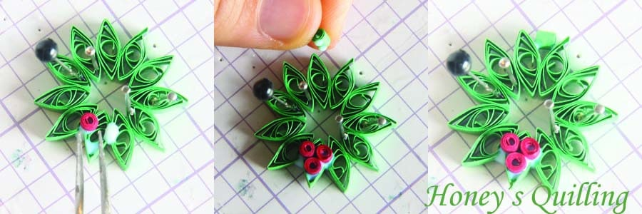 Paper Quilling for Beginners make an Christmas Wreath - perfect as Quilled Earrings or for Greeting Cards (6)