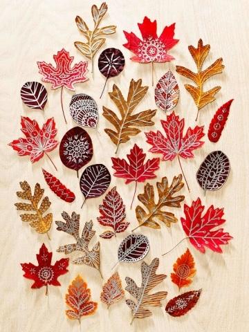 autumn leaf doodle art