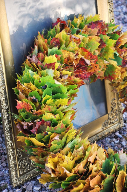 leaf wreath for autumn and thanksgiving