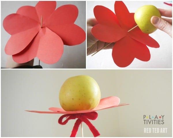 Healthy Valentine's Day Treats - Apple Heart Flowers (1)