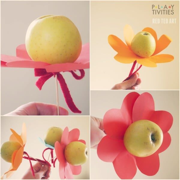 Healthy Valentine's Day Treats - Apple Heart Flowers