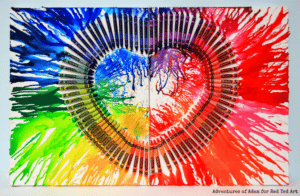 Melted Crayon Heart Canvas