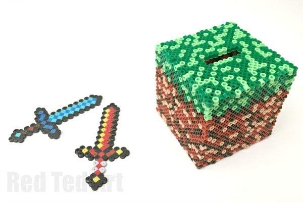Minecraft Crafts Diamond Sword Perler Beads Red Ted Art