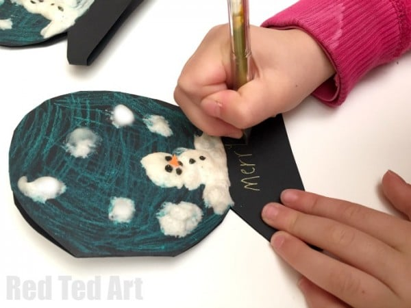 Puffy Paint Snowman Cards for Kids. Cute easy & super fun! Great as Holiday Cards and thank you cards