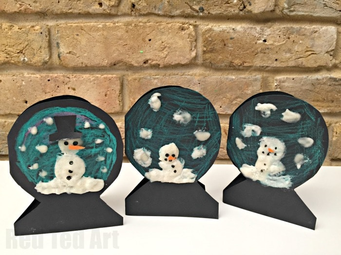 Puffy Paint Snowman Snowglobe Cards Red Ted Art S Blog