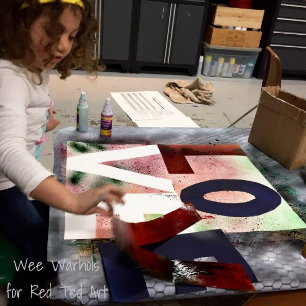 Pop Art for Kids - reverse stenciling technique. Wonderful project for Valentine's Day too