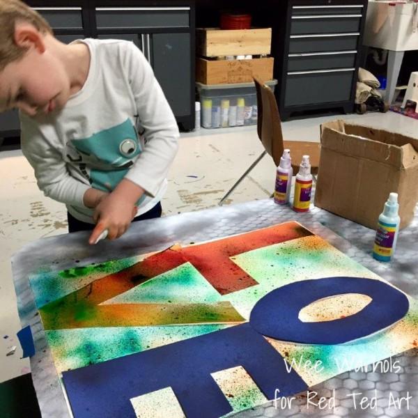 Art for Kids - Valentines Crafts reverse stenciling