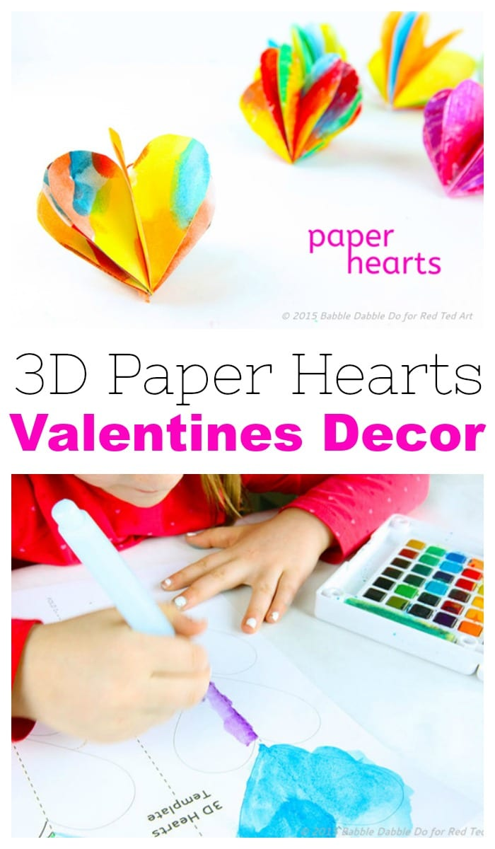 3d Paper Heart Valentines Day Craft Decoration Red Ted Arts Blog