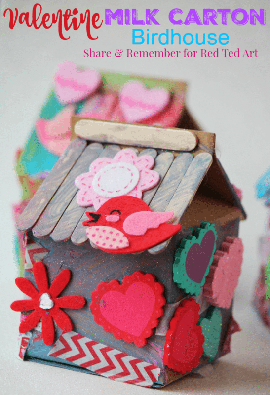 Recycled Milk Carton Birdhouse Craft For Kids Red Ted Art