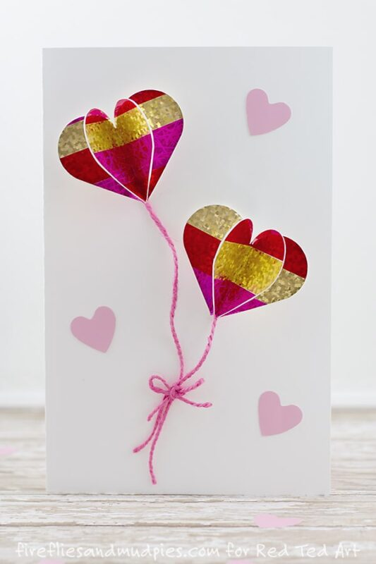 DIY 3D Heart Card - adorable heart balloon cards. These would be wonderful for Valentine's Day, Weddings or simply for a lovely friend or family member. Nothing quite like easy DIY cards!