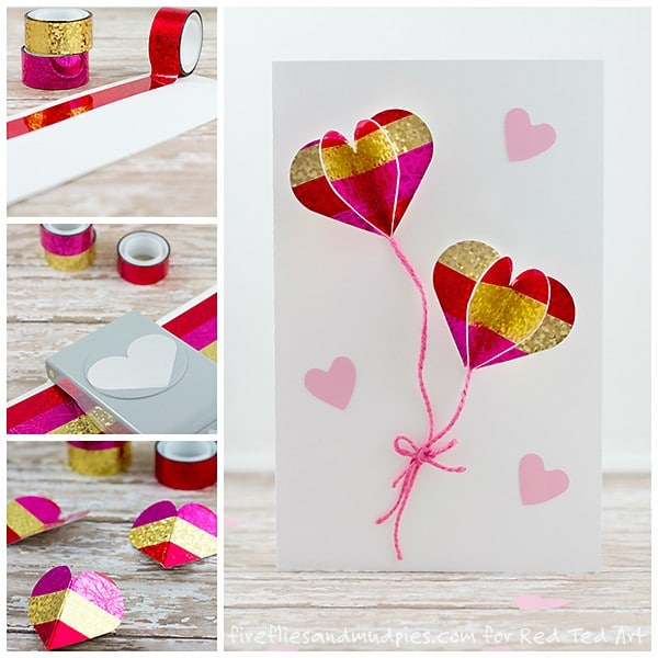 DIY 3D Heart Card - simply darling Heart Balloon Cards for Valentine's Day or Wedding Cards. Love how cute this is and what an easy DIY card to make.