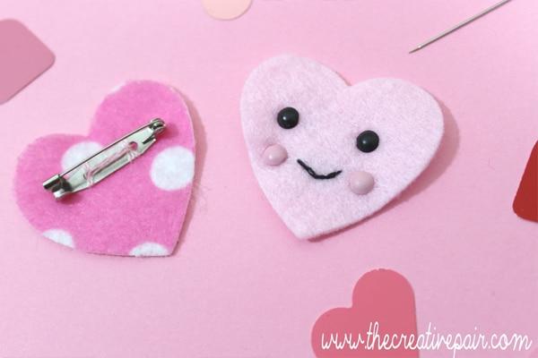 Simple Craft Ideas for Kids - DIY Felt Pink Heart Brooch